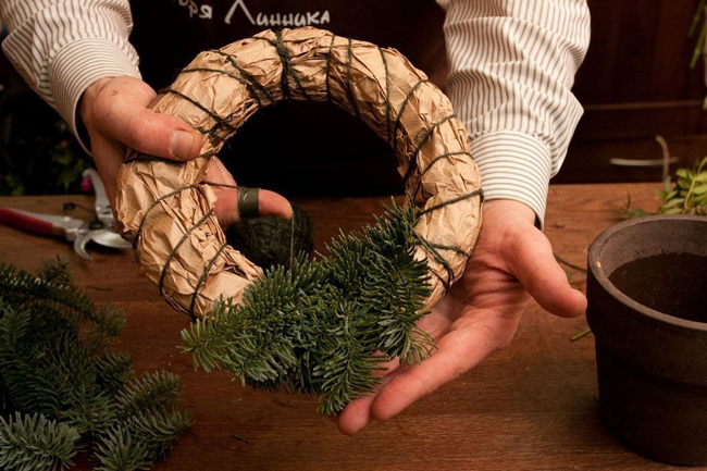 рождественский венок мастер класс