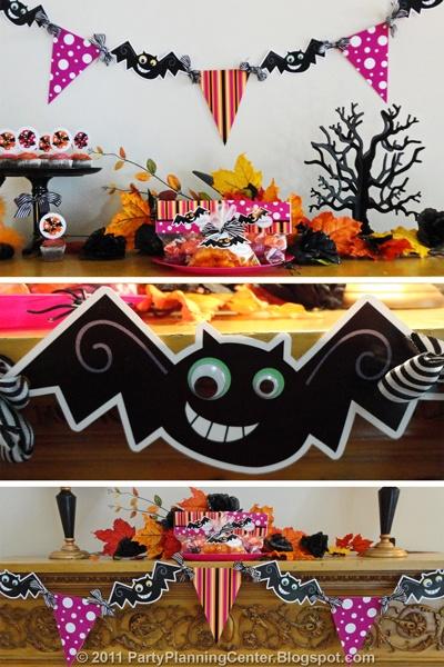 Гирлянда с летучими мышами на Хэллоуин