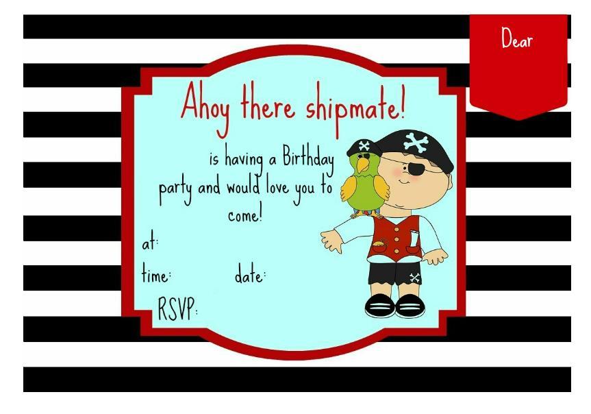 приглашение на пиратскую вечеринку