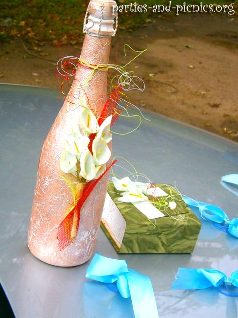 """Мастер-класс: """"Бутылка шампанского в подарок на свадьбу"""""""