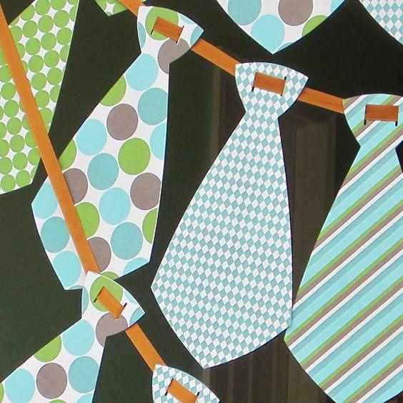 Бумажная гирлянда из галстуков на 23 февраля